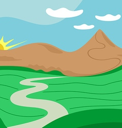 Landscape with far away road mountains sun vector