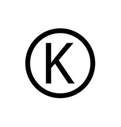 Letter k in circle sign kosher food sign vector