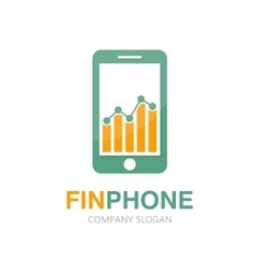 logo combination of a graph and phone vector image