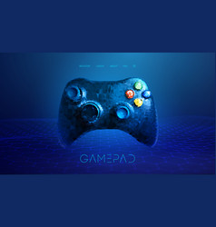 low poly gamepad 3d abstract vector image