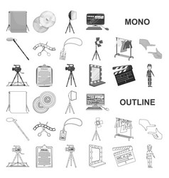 Making a movie monochrom icons in set collection vector