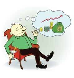 Man dream about money Concept vector image