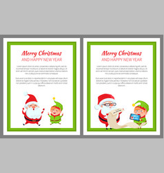 merry christmas happy new year cute santa and elf vector image