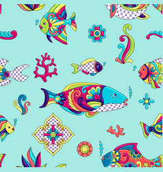 mexican talavera ceramic tile pattern with fishes vector image