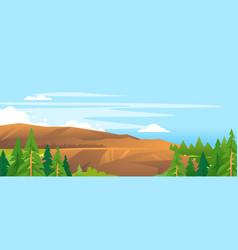 Mountain slope forest nlandscape background vector