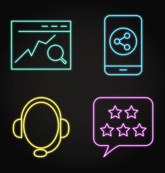 neon communication with customer icon set in line vector image