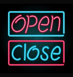 neon sign for open and close vector image