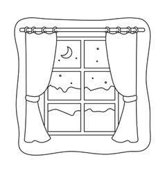 Night out the window icon in outline style vector image