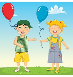 Of Kids Keeping Balloons vector