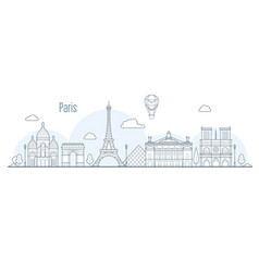 paris city skyline - cityscape with landmarks vector image