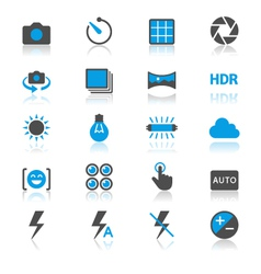 Photography flat with reflection icons vector image