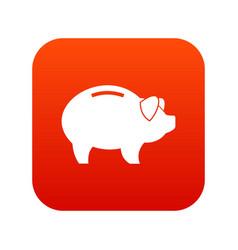 Piggy icon digital red vector