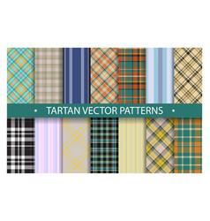 plaid pattern seamless ornate set tartan vector image