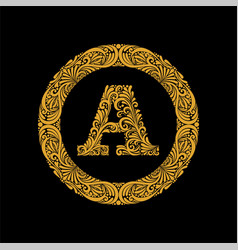Premium elegant capital letter a in a round frame vector