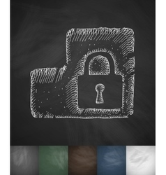 protection icon Hand drawn vector image