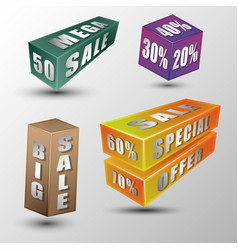 sale message on 3d box vector image