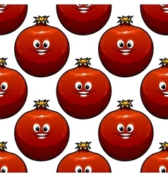 Seamless pattern of cartoon pomegranate fruits vector image
