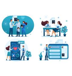Set 2d flat digital health consultation patients vector