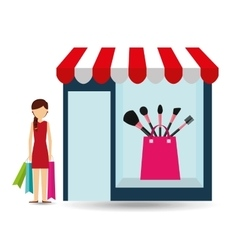Set brush woman buys gifts vector