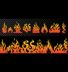 set flame and fire on transparent background vector image