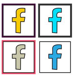 set of unusual look facebook logotype social vector image