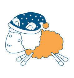 Sheep animal with sleeping cap jumping color vector