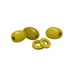 Sliced green pickled olives vector