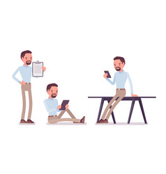 smart casual man in different situations vector image