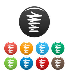 spiral spring icons set color vector image