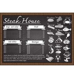 Steak menu on chalkboard vector