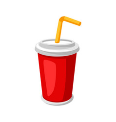 stylized soda or cola in paper cup vector image