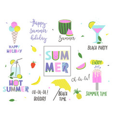 summer set with lettering and holiday elements vector image