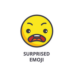 surprised emoji line icon sign vector image