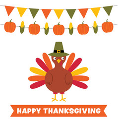 Thanksgiving card with a turkey and decoration vector