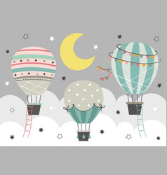 three hot air balloon fly in night sky vector image