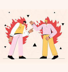 Two angry men shouting at each other vector