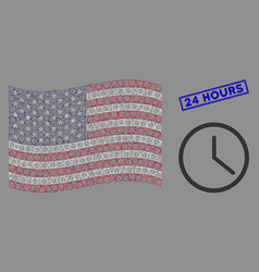 usa flag stylized composition clock and grunge vector image