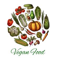vegetable and mushroom poster of vegan food design vector image