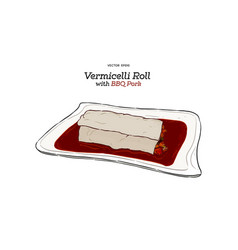 vermicelli roll with bbq pork vector image