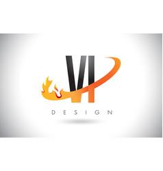 vi v i letter logo with fire flames design and vector image