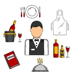Waiter profession with food and restaurant icons vector image
