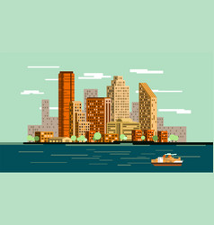 waterfront city skyline vector image