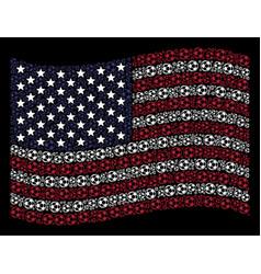 waving united states flag stylization of football vector image
