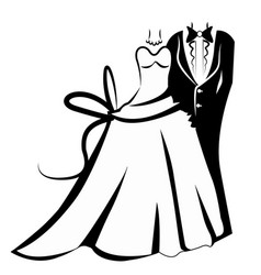 wedding outfits bride and groom icon vector image