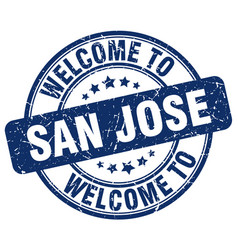 welcome to san jose blue round vintage stamp vector image