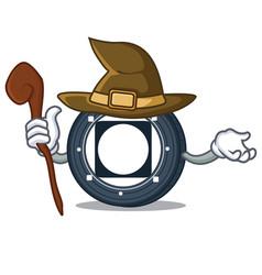 Witch byteball bytes coin mascot cartoon vector