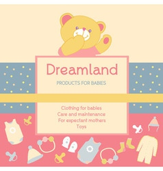 background with a label products for babies Advert vector image vector image