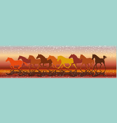 background with horses galloping in the sunset vector image
