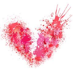 broken heart made of spray and drops vector image