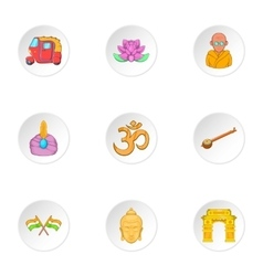 India Republic icons set cartoon style vector image